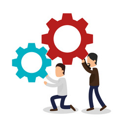 Business people with gears training icon vector