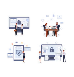 Business security flat set vector