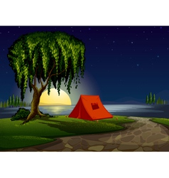 camping scene background vector image