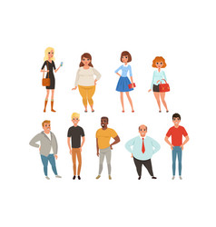 cartoon collection of young and adult people in vector image