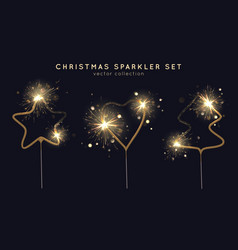 christmas sparkler set star heart christmas vector image