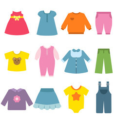 clothes for children flat vector image