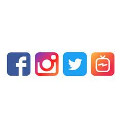 collection of popular social media logos printed vector image
