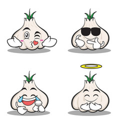 collection set of garlic cartoon character vector image