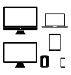 computer device icons black white silhouettes vector image