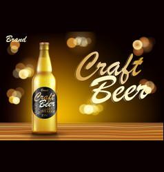 craft beer ads design realistic malt bottle beer vector image
