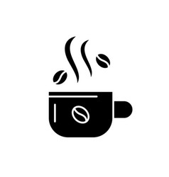 cup of coffee black icon sign on isolated vector image