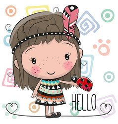 cute cartoon girl and ladybug vector image vector image