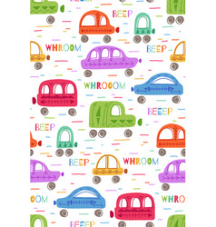 Cute childish pattern with hand drawn flat cars vector