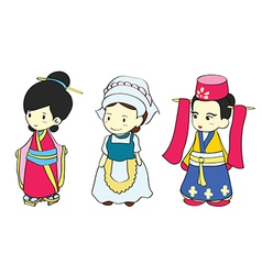 Cute girls in traditional clothing vector