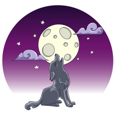 cute little howling wolf hand drawn vector image