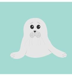 Cute seal pup baby harp Cartoon character Blue vector