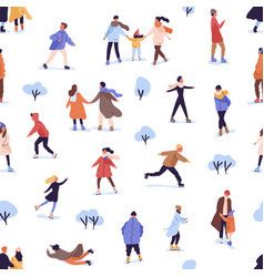 Different people skating on rink seamless pattern vector