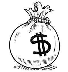 doodle money bag vector image