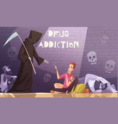 Drug addiction horizontal poster vector