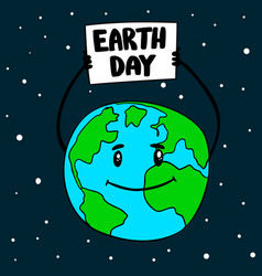 earth day earth globe with poster design element vector image