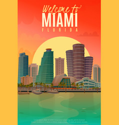 Evening miami poster vector