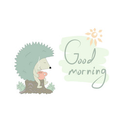 Fanny cartoon hedgehog print vector