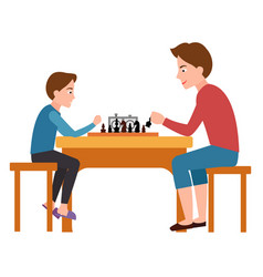 Father and son playing chess sit on chairs table vector