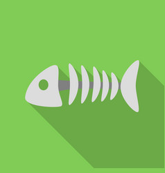 fish bone icon in flate style isolated on white vector image