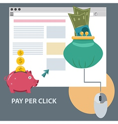 Flat design concept icon of pay per click vector