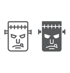 frankenstein line and glyph icon monster vector image