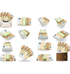 Full Set of Fifty Euros Banknotes vector
