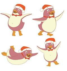 Funny set of penguin character wearing red Santa vector