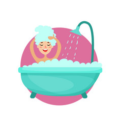 girl taking a bubble bath and washing her hair vector image
