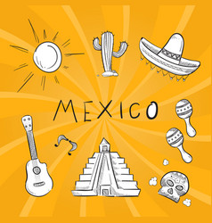 hand drawn mexico symbol stickers set vector image