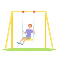 happy boy has fun swinging on swing playground vector image