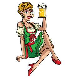 happy girl of oktoberfest wearing drindl and vector image