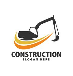 Heavy equipment excavators construction logo vector