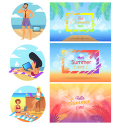 hello hot summer days set vector image