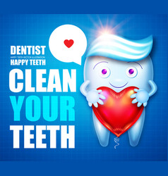 Helthy tooth with toothpaste speech bubble and vector