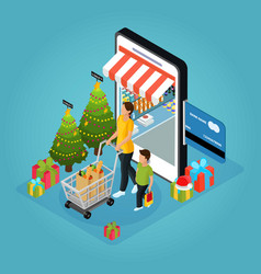 isometric winter holiday online shopping concept vector image