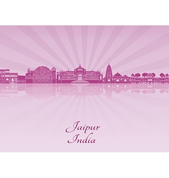 Jaipur skyline in purple radiant orchid vector