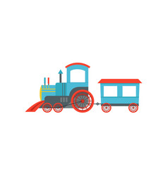 Kids cute cartoon toy passenger train blue and vector