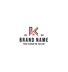 Letter k home logo design vector