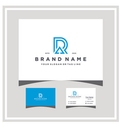 Letter r up arrow logo design and business card vector