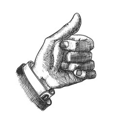 Male hand make gesture thumb finger up ink vector