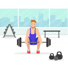 man exercising with barbell in gym young man vector image