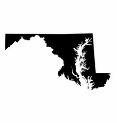 Maryland silhouette map vector