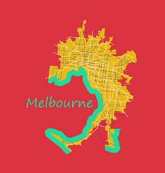 melbourne australia map in retro style flat vector image