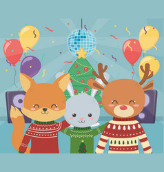merry christmas celebration party fox reindeer and vector image