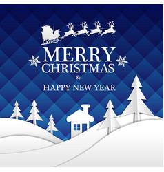 merry christmas happy new year white blue vector image