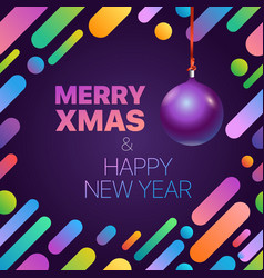 merry xmas and happy new year greeting card vector image