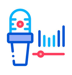 microphone audio waves icon outline vector image