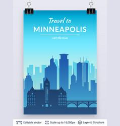 Minneapolis famous city scape vector