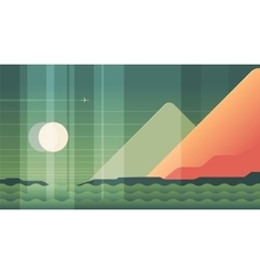 Mountains sea and plane landscape - modern flat vector